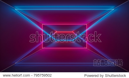 3d render  laser show  night club interior lights  red blue glowing lines  abstract fluorescent background  geometric shapes