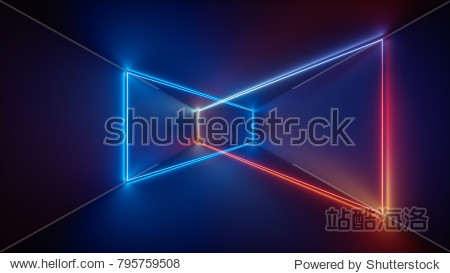 3d render  laser show  night club interior lights  blue red glowing lines  abstract fluorescent background  room  corridor
