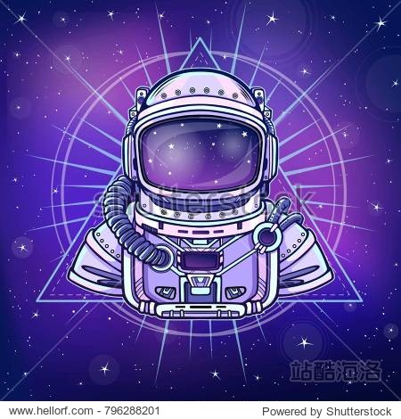 Animation Astronaut in a space suit. Background - the night star sky. Vector illustration. Print  poster  t-shirt  card.