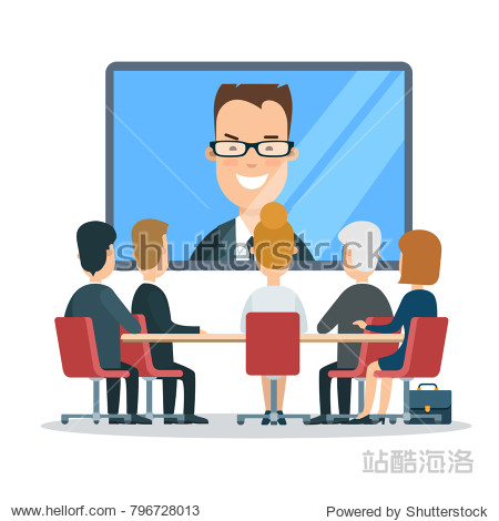 Flat business online video report  meeting  council  presentation  web infographic vector. Group businesspeople sitting  looking to big screen TV internet chat with boss or coach. Manager face speaks