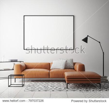 mock up poster frame in hipster interior background  Scandinavian style  3D render  3D illustration
