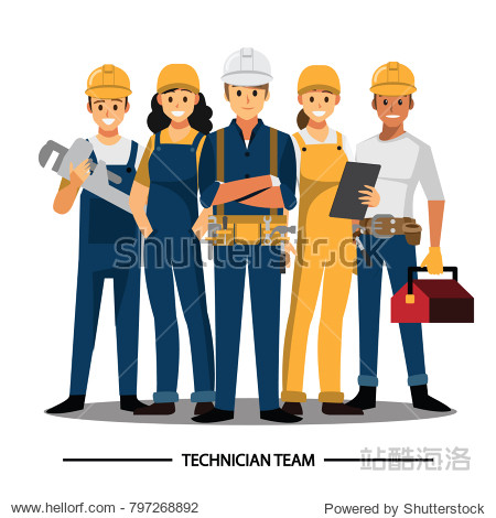 Technician and builders and engineers and mechanics People teamwork  Vector illustration cartoon character.