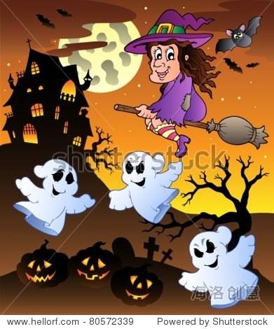 Scene with Halloween mansion 5 - vector illustration.