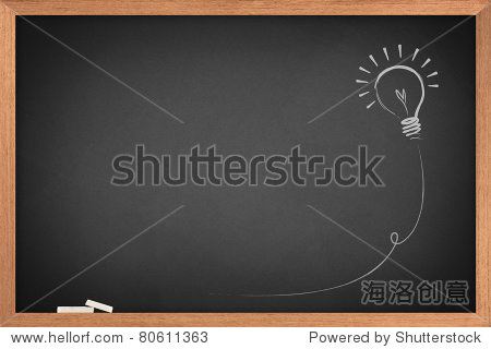 Drawing of a bulb idea on blackboard