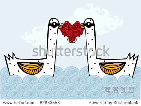 swans in love vector/illustration