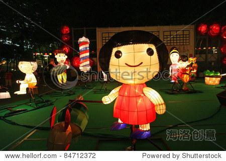 HONG KONG - SEPT 13,  Victoria Park Mid-Autumn Lantern Carnival on 13 September; 2011 in Victoria Park; Hong Kong.