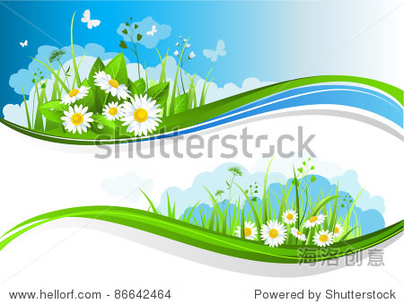 Summer banners with beautiful flowers under a blue sky. Raster version