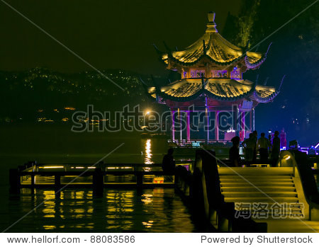 Pagoda on the Xihu lake, Hangzhou in China, at Night