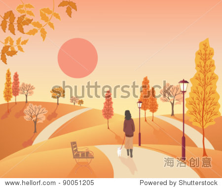 vector autumn landscape  illustration in eps 10 format of a woman walking a small dog through a park full of deciduous trees in fall colors