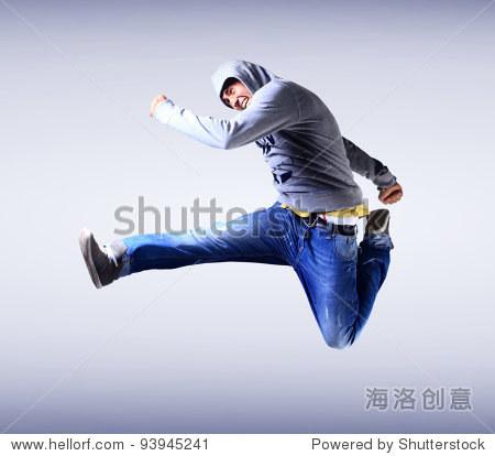 Handsome young man dancing