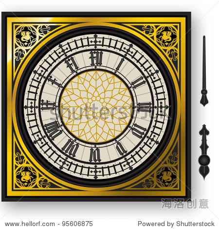 Detailed illustration of a quadrant of victorian big ben clock with lancets