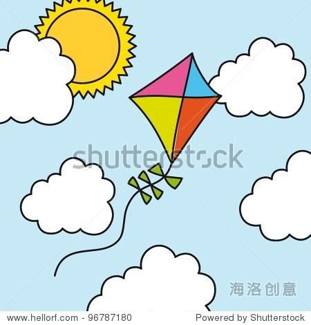 kite drawing over summer landscape. vector illustration