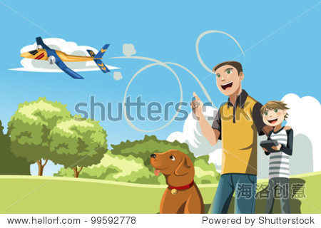 A vector illustration of a father and his son playing remote controlled airplane outside