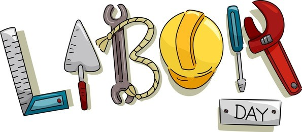 Text Illustration Featuring Construction Tools That Represent Labor Day