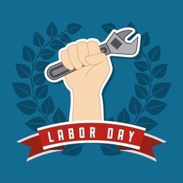 Labor day design over blue background, vector illustration