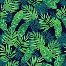 Tropical trendy seamless pattern with exotic palm leaves.