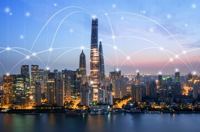 Shanghai Skyline - network connection