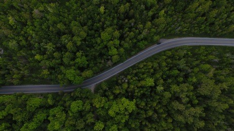 Curved aerial road from a drone