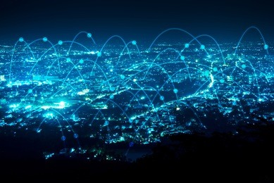 abstract line connection on night city background