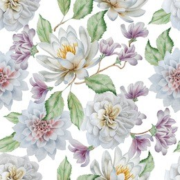 与花的无缝模式。百合。玫瑰。水彩。手绘。