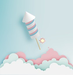 Rocket firework with pastel tone background in paper art style vector illustration