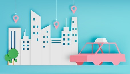 Taxi car service in the city paper art style vector illustration