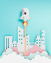 Paper rocket with pastel tone background vector illustration