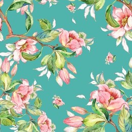 Watercolor seamless pattern of spring branches-5