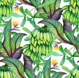 Tropical seamless pattern with bananas, banana leaves, flower Sterlitzia. Tropical background with banana leaves. Watercolor illustration with a rainforest