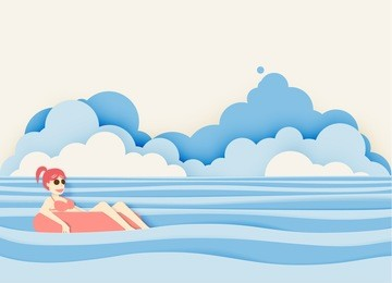Girl floating on the beach with beautiful sea background paper cut style vector illustration