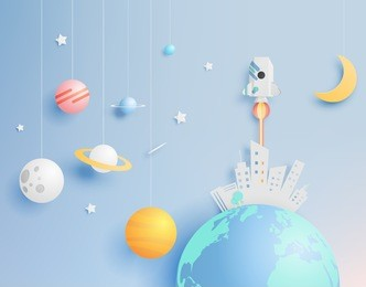 Paper rocket and solar system paper art with pastel tone background vector illustration