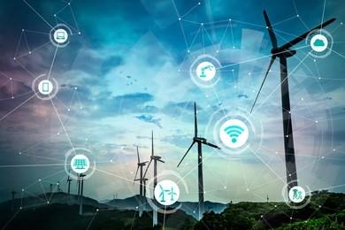 可再生能源和物联网。智能工厂。智能能源。智能电网概念。