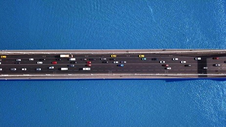 Top down aerial view - Traffic on Elisabeth bridge, Budapest, Hungary.