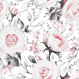Seamless pattern with flowers and leaves on white background. oil painting on canvas floral pattern, flower rose. Tile for wallpaper or fabric.