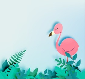 Flamingo in paper art style with jungle background vector illustration