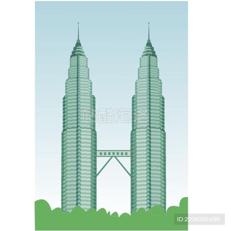 双子塔建筑设计  矢量插画
