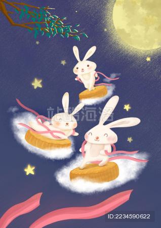 中秋节的可爱玉兔