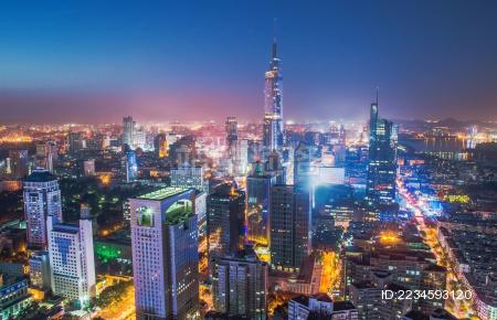 南京地标城市夜景图