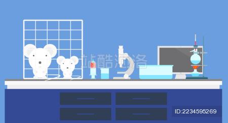 实验室小白鼠桌子矢量素材
