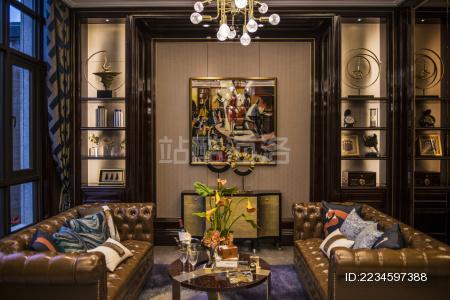 别墅 会客厅 金黄色 灯光 格子 温馨 创意 吊灯 镜子 会客厅 壁画 沙发 茶几 豪华