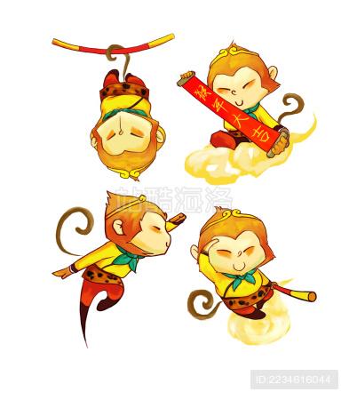 2016 猴年 拜年 孙悟空 猴子  吉祥 吉祥物 插画  2016 New year   Sun Wukong  Monkey  mascot  year of monkey   Monkey Ki