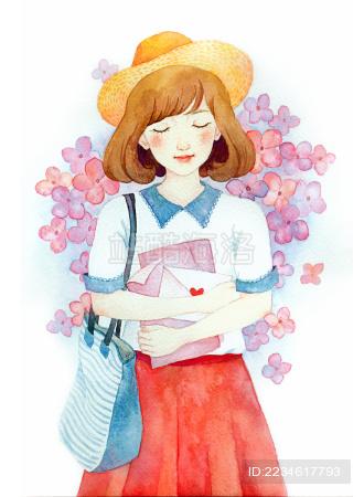 女孩水彩插画