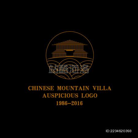 中国古典吉祥  图案 建筑 标志logo素材 祥云 山庄 手绘