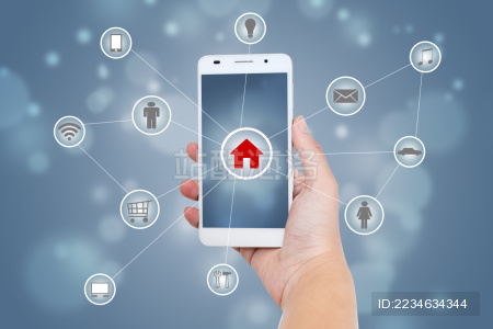 Smart phone with Internet  and objects icon connecting together,Internet networking concept