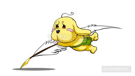 卡通金毛儿童插画形象