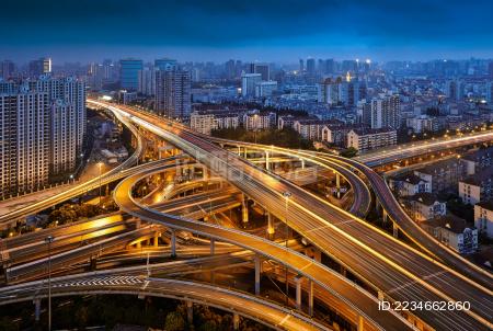 上海城市高架道路夜景