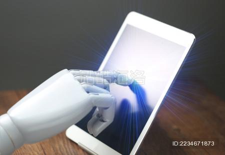 人工智能机械手操作平板电脑