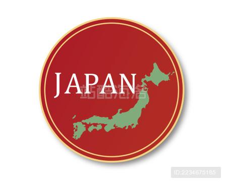 漂亮日本标志带地图。适合使用日本产品·日本旅游等等