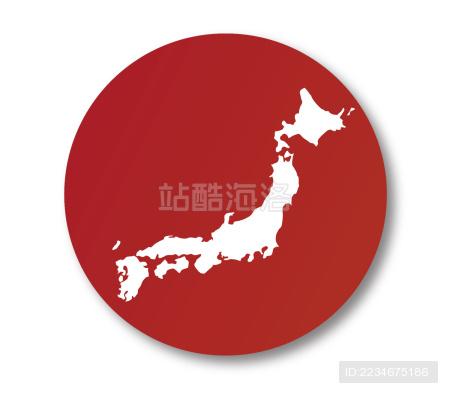 日本地图国旗标志。适合使用日本产品·日本旅游等等