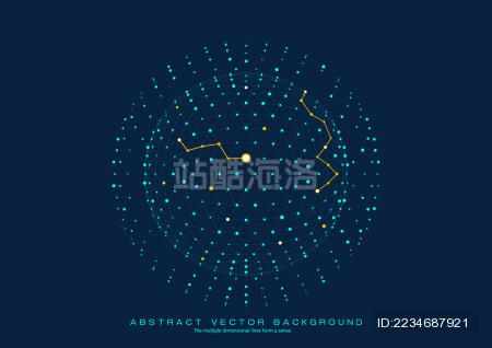 3D多边形网状球体 点线连接的科技矢量背景